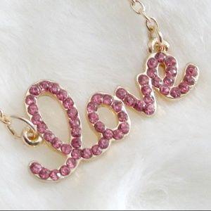 T&J Design Gold Pink Crystal Love Pendant Necklace
